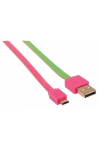 Obrázok pre MANHATTAN Flat Micro-USB Cable 1 m (3 ft.), Pink/Green