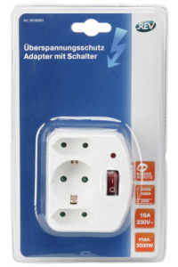 Obrázok pre REV 3-fold Adapter with switch and Surge protector white