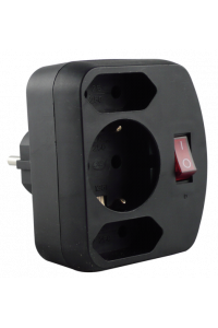 Obrázok pre REV Adapter surge protection black, 3-gap, switch