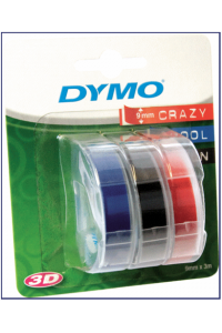 Obrázok pre 3x1 Dymo Embossing Labels Multi-Pack 9mm (red/blue/black)