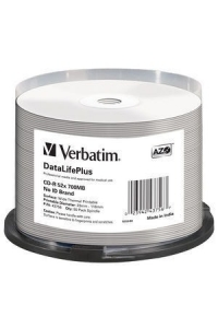 Obrázok pre VERBATIM CD-R(50-pack) spindl, AZO 52X,700MB,WHITE WIDE THERMAL PRINTABLE SURFACE NON-ID