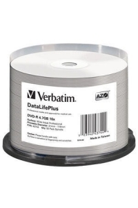 Obrázok pre VERBATIM DVD-R(50-Pack)Spindle/Printable/16x/4.7GB/WIDE PRINTABLE SURFACE NON-ID